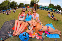 Audience lying in the grass at FIB Festival Royalty Free Stock Photography