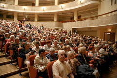 The audience of the musical performance - the retirees, elderly veterans of the second world war and their relatives. Royalty Free Stock Photos