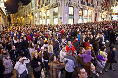 Audience by night in Madrid Stock Photo