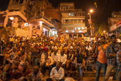 Audience at the Night Puja. Ghats at the holy river of Ganga in Varanasi, Uttar Pradesh, India Stock Image