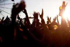 Audience At Outdoor Music Festival Royalty Free Stock Images