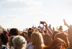 Audience At Outdoor Music Festival Royalty Free Stock Photos