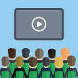 Audience with presentation. Many people on the seats in front of the screen with play icon royalty free illustration