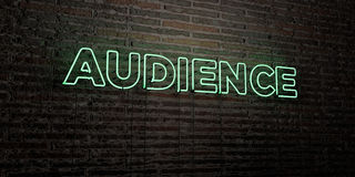 AUDIENCE -Realistic Neon Sign on Brick Wall background - 3D rendered royalty free stock image Royalty Free Stock Photography