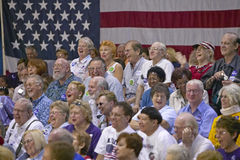 Audience of retired persons laughing at Senator John Kerry campaign rally, Valley View Rec Center, Henderson, NV Stock Photography