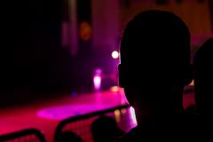 Audience at a show. People watching a performance Royalty Free Stock Photo