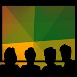 Audience silhouette colorful. A silhouetted audience facing a colorful screen or stage stock illustration