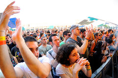 Audience at Sonar Festival. BARCELONA - JUN 12: Audience at Sonar Festival on June 12, 2014 in Barcelona, Spain Stock Images