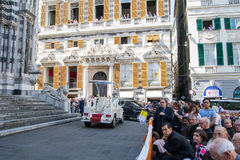 The audience for the speech of Pope Francis ans his pope Mobil. Stock Image