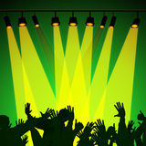 Audience Spotlight Represents Backdrop Backgrounds And Entertain. Audience Spotlight Meaning Group Of People And Stage Lights vector illustration