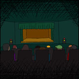 Audience at Theater. Theater performance audience and empty stage cartoon Royalty Free Stock Images