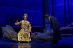 An audience-The third act: the night of the cliff mountain-large historical drama, `Yangming three nights` Stock Photo