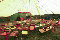 Audience of traveling circus with empty chairs Stock Photography