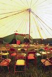 Audience of traveling circus with empty chairs Royalty Free Stock Photo