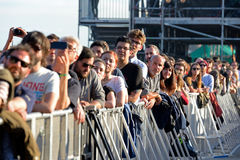 Audience watch a concert at Heineken Primavera Sound 2014 Festival. BARCELONA - MAY 30: Audience watch a concert at Heineken Primavera Sound 2014 Festival (PS14 royalty free stock photo