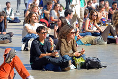 Audience watch a concert at Heineken Primavera Sound 2014 Festival (PS14). BARCELONA - MAY 30: Audience watch a concert at Heineken Primavera Sound 2014 Festival stock photography