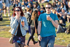 Audience watch a concert at Heineken Primavera Sound 2014 Festival (PS14) Royalty Free Stock Image