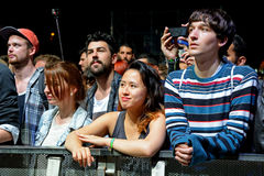 Audience watch a concert at Heineken Primavera Sound 2014 Festival (PS14). BARCELONA - MAY 30: Audience watch a concert at Heineken Primavera Sound 2014 Festival stock image