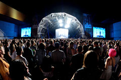 Audience watch a concert at Sonar Festival. BARCELONA - JUN 20: Audience watch a concert at Sonar Festival on June 20, 2015 in Barcelona, Spain royalty free stock image
