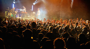 The audience watch the Kaiser Chiefs (famous British indie rock band) Royalty Free Stock Photos