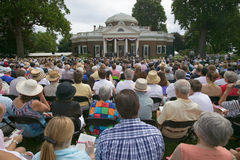 Audience watching 76 new American citizens. At Independence Day Naturalization Ceremony on July 4, 2005 at Thomas Jefferson's home, Monticello, Charlottesville Stock Photography