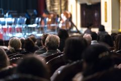 Audience watching concert show in the theater.  Stock Photo