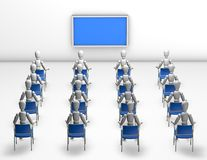 Audience watching presentation on blue screen Stock Images