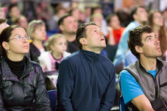 Audience watching rock climbing competitions Stock Image