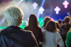 Audience watching the scene with artists. Royalty Free Stock Photo