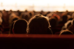 Audience watching theater play. Audience waiting for theater play to begin Royalty Free Stock Photography