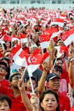Audience waving flags during NDP 2009 Royalty Free Stock Images