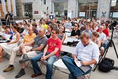 Audience at workshop in. MOSCOW - JULY 10: Audience at workshop The Future of Labor and the City in Strelka Institute on July 10, 2010 in Moscow, Russia Stock Image