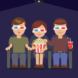 Audiences at the premiere of the blockbuster. Vector illustration of audiences with popcorn and cola at the premiere of the blockbuster stock illustration