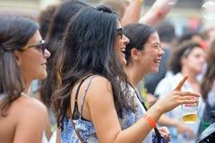 Audiencia en el festival del sonar Imagen de archivo