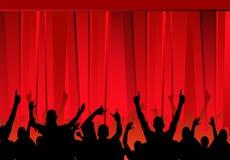 Audiencia y cortinas rojas stock de ilustración
