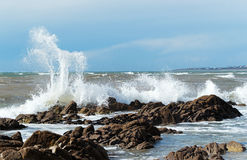 Waves on Audierne bay in Britanny Stock Images