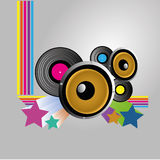 Audio. Abstract audio icon on gradient gray background Royalty Free Stock Photos