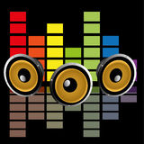 Audio. Abstract audio symbol with shadow effect on black background Royalty Free Stock Photography