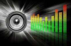 Audio altoparlante & compensatore sul nero Fotografia Stock