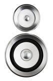 Audio altoparlante del suono del sistema stereo di alta fedeltà su bianco Fotografie Stock