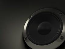 Audio altoparlante su priorità bassa nera Fotografie Stock