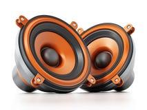 Audio altoparlanti generici isolati su fondo bianco illustrazione 3D Immagini Stock
