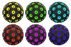 Audio altoparlanti multicolori come sfera rappresentazione 3d Fotografia Stock
