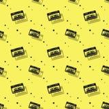 Audio analog kasety cienia Bezszwowy tło ilustracja wektor