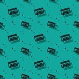 Audio analog Retro kasety cienia Bezszwowy wzór Zdjęcia Royalty Free