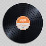 Audio analogue record vinyl vintage disc isolated on transparent background vector illustration. Audio classic plastic disc for gramophone stock illustration