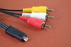 Free Audio And Video Cable Connector On White Background. Stock Images - 133473804