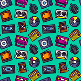 Audio ans video vector seamless pattern vector Royalty Free Stock Photography