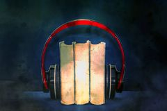 Red headphones on books stock illustration