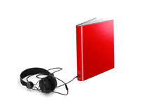 Audio book. Red book attached to pair of headphones; audio book concept isolated on white background Royalty Free Stock Photo